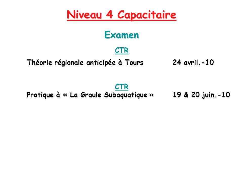 Niveau 4 Capacitaire CTR Théorie régionale anticipée à Tours24 avril.-10 CTR Pratique à « La Graule Subaquatique » 19 & 20 juin.-10 Examen