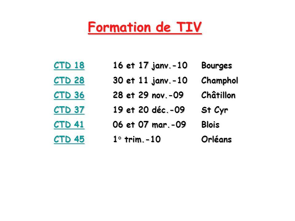 Formation de TIV CTD 1816 et 17 janv.-10Bourges CTD 2830 et 11 janv.-10Champhol CTD 3628 et 29 nov.-09Châtillon CTD 3719 et 20 déc.-09St Cyr CTD 4106