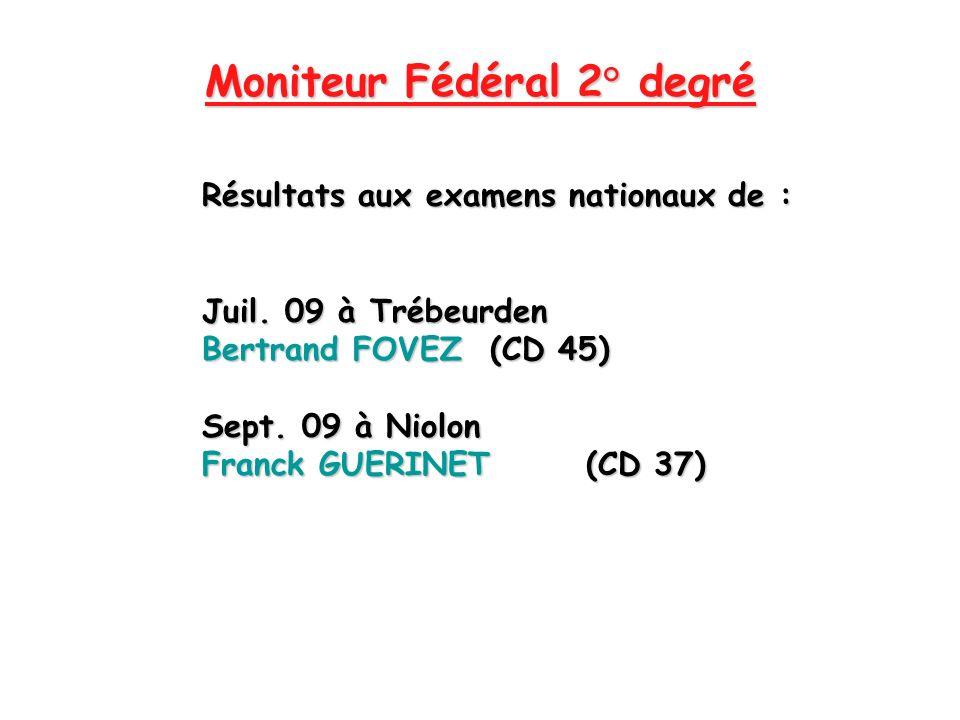 Moniteur Fédéral 2° degré Résultats aux examens nationaux de : Juil. 09 à Trébeurden Bertrand FOVEZ (CD 45) Sept. 09 à Niolon Franck GUERINET(CD 37)