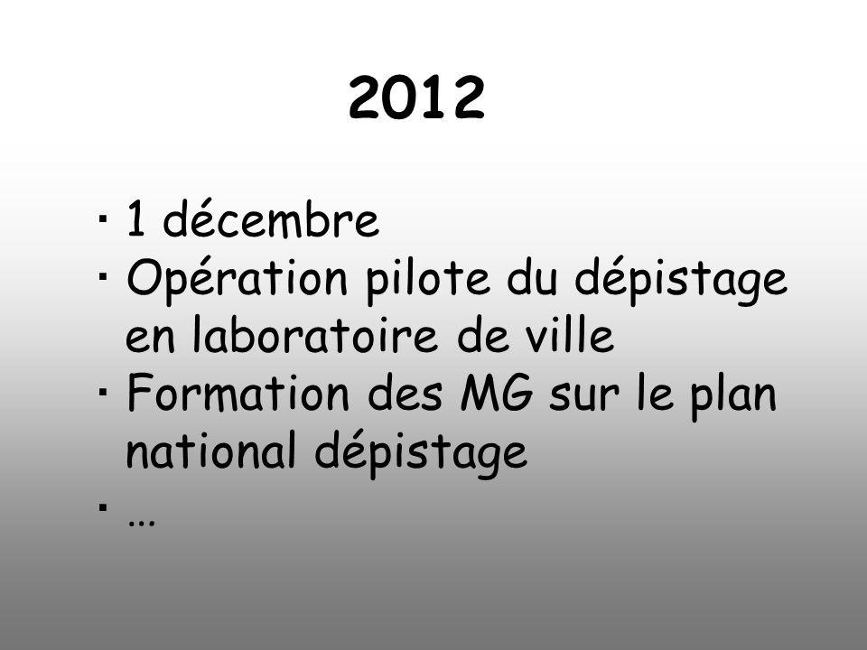 1 décembre Opération pilote du dépistage en laboratoire de ville Formation des MG sur le plan national dépistage … 2012