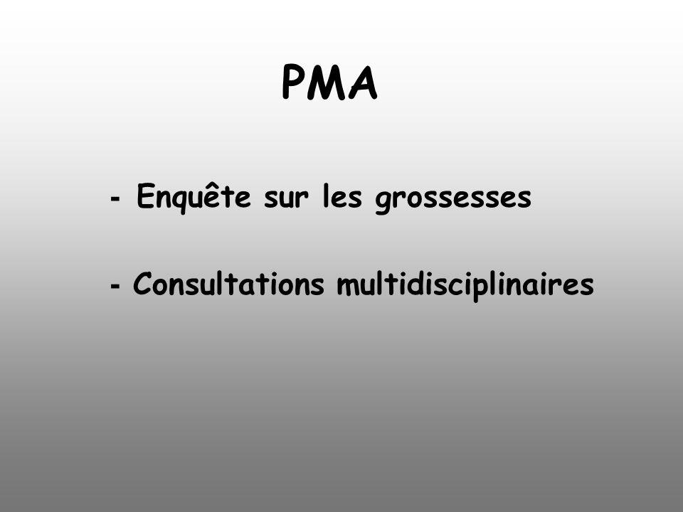 PMA - Enquête sur les grossesses - Consultations multidisciplinaires