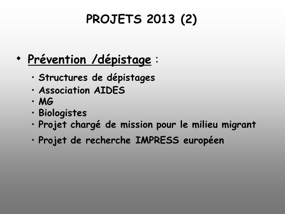 Prévention /dépistage : Structures de dépistages Association AIDES MG Biologistes Projet chargé de mission pour le milieu migrant Projet de recherche