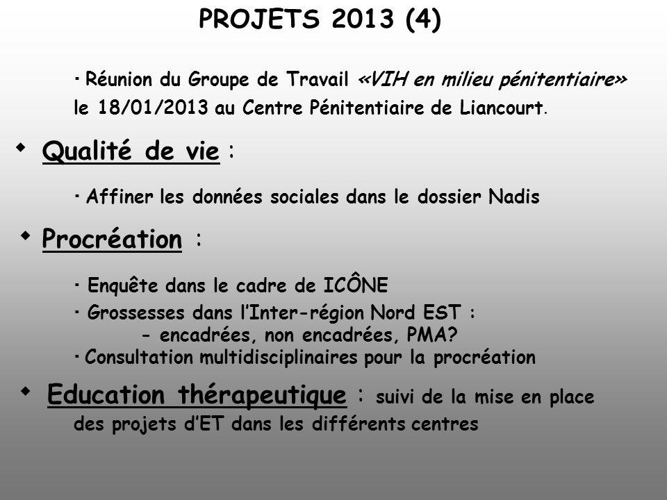 Réunion du Groupe de Travail «VIH en milieu pénitentiaire» le 18/01/2013 au Centre Pénitentiaire de Liancourt. Qualité de vie : Affiner les données so