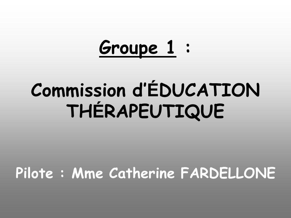 Groupe 1 : Commission d É DUCATION TH É RAPEUTIQUE Pilote : Mme Catherine FARDELLONE
