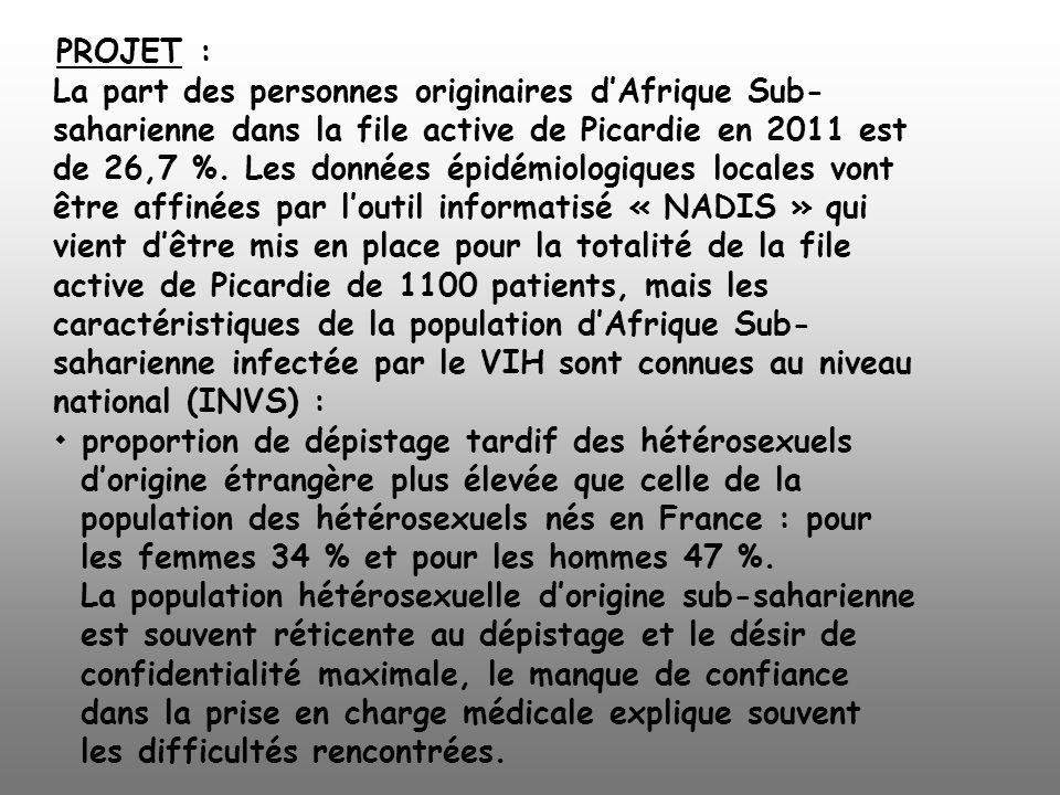 PROJET : La part des personnes originaires dAfrique Sub- saharienne dans la file active de Picardie en 2011 est de 26,7 %. Les données épidémiologique