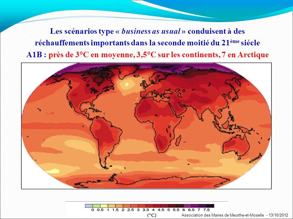 Les scénarios type « business as usual » conduisent à des réchauffements importants dans la seconde moitié du 21 ème siécle A1B : près de 3°C en moyenne, 3,5°C sur les continents, 7 en Arctique Association des Maires de Meurthe-et-Moselle - 13/10/2012