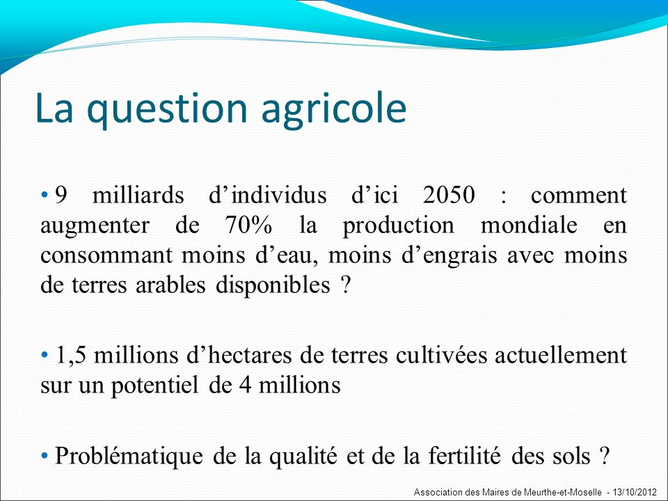 La question agricole 9 milliards dindividus dici 2050 : comment augmenter de 70% la production mondiale en consommant moins deau, moins dengrais avec