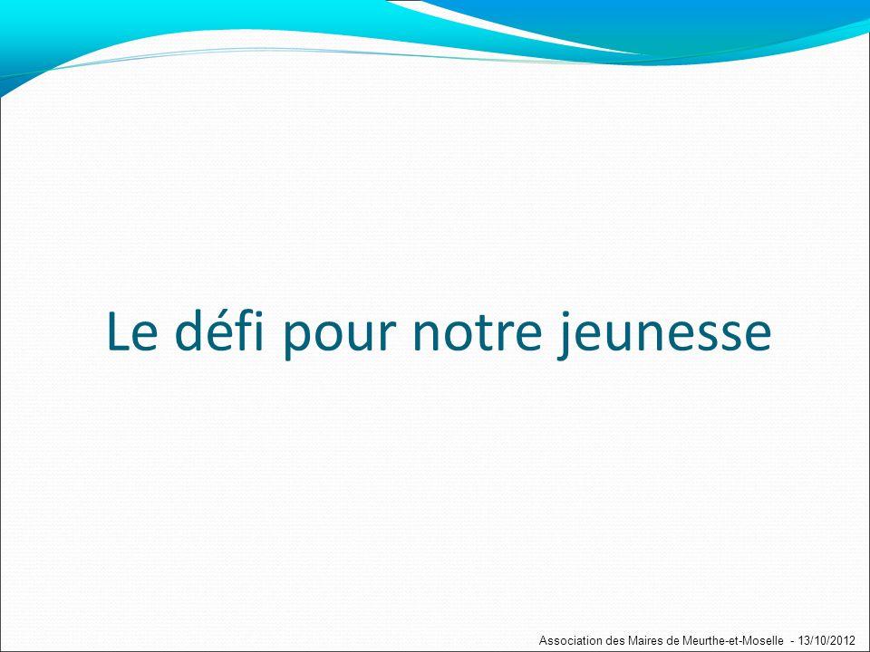 Le défi pour notre jeunesse Association des Maires de Meurthe-et-Moselle - 13/10/2012