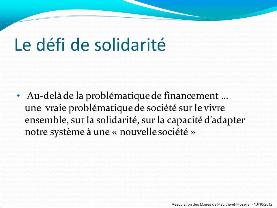 Le défi de solidarité Au-delà de la problématique de financement … une vraie problématique de société sur le vivre ensemble, sur la solidarité, sur la capacité dadapter notre système à une « nouvelle société » Association des Maires de Meurthe-et-Moselle - 13/10/2012