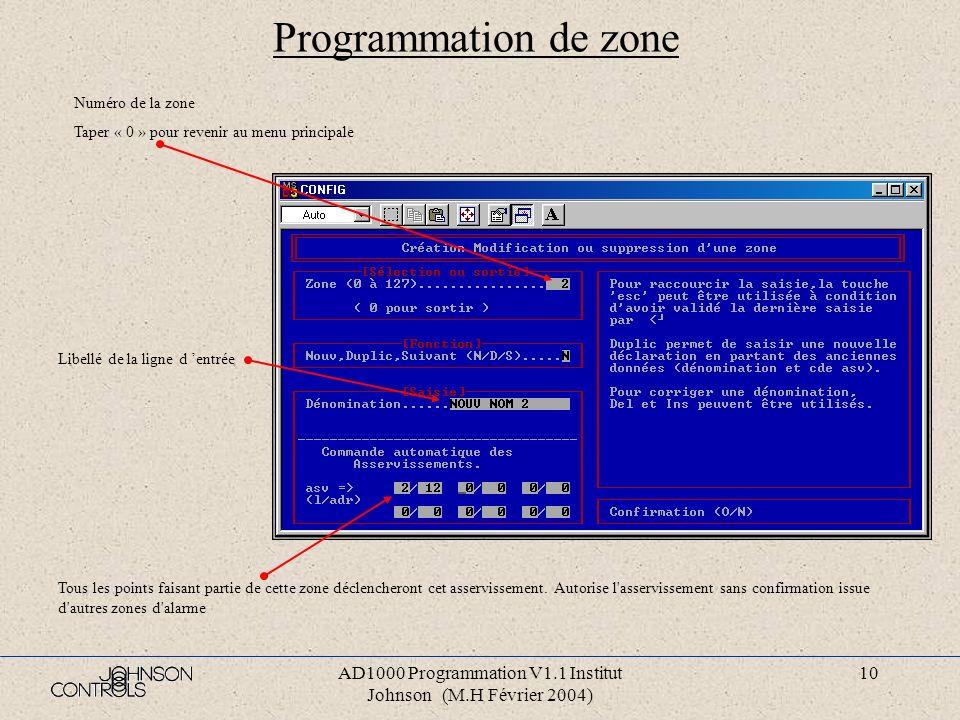 AD1000 Programmation V1.1 Institut Johnson (M.H Février 2004) 9 Programmation ligne d entrée Numéro de la ligne d entrée Taper « 0 » pour revenir au m