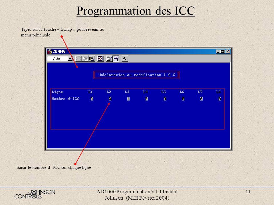 AD1000 Programmation V1.1 Institut Johnson (M.H Février 2004) 10 Programmation de zone Numéro de la zone Taper « 0 » pour revenir au menu principale L