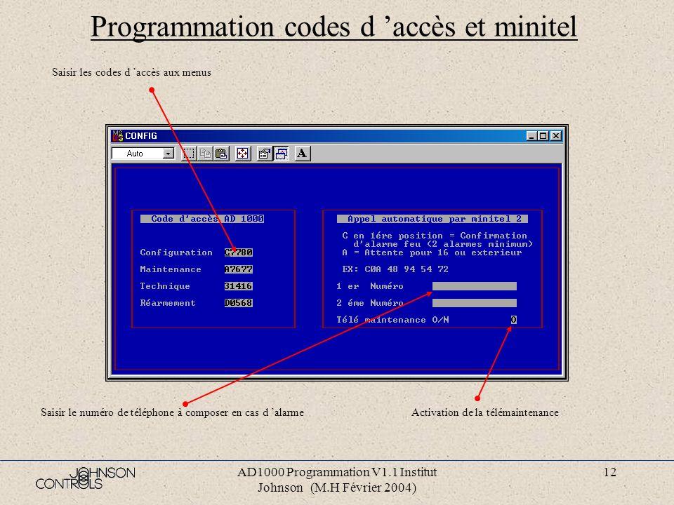 AD1000 Programmation V1.1 Institut Johnson (M.H Février 2004) 11 Programmation des ICC Taper sur la touche « Echap » pour revenir au menu principale S