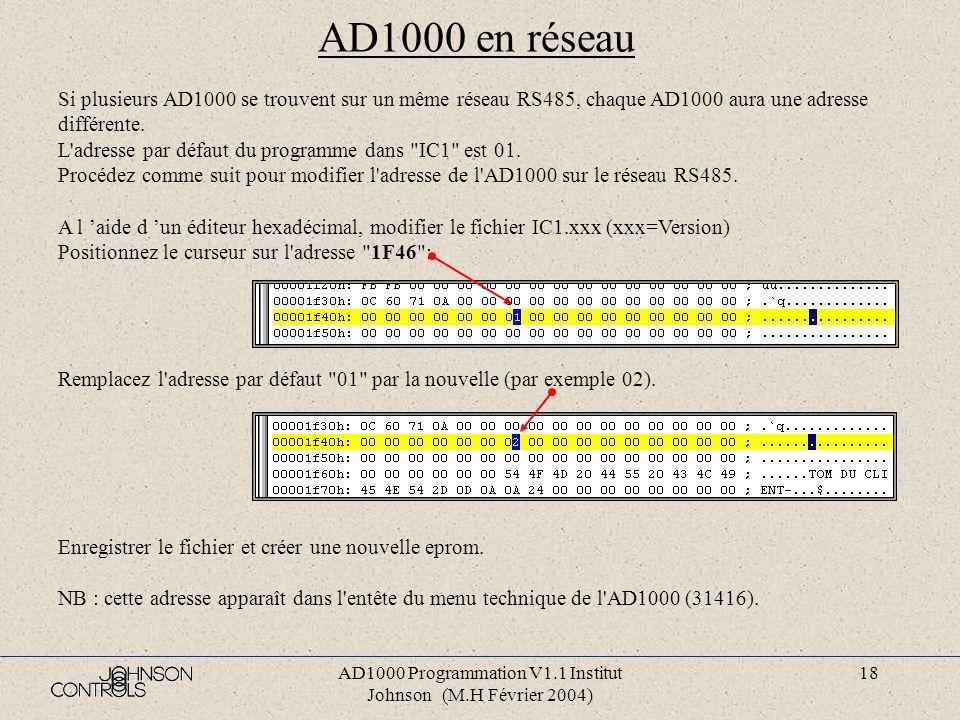 AD1000 Programmation V1.1 Institut Johnson (M.H Février 2004) 17 Génération des fichiers eproms IC1 et IC3 Tapez sous