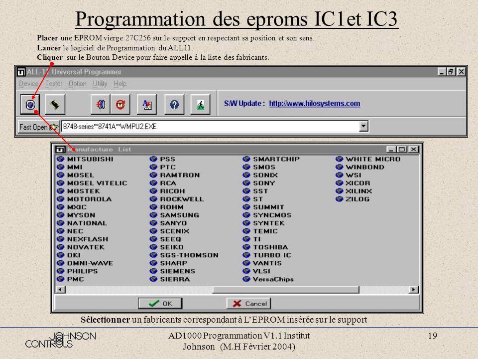 AD1000 Programmation V1.1 Institut Johnson (M.H Février 2004) 18 AD1000 en réseau Si plusieurs AD1000 se trouvent sur un même réseau RS485, chaque AD1