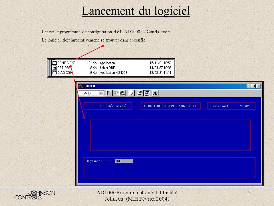 AD1000 Programmation V1.1 Institut Johnson (M.H Février 2004) 1 Cours AD1000 : Programmation ATSE