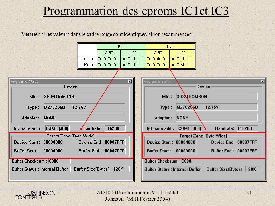 AD1000 Programmation V1.1 Institut Johnson (M.H Février 2004) 23 Programmation des eproms IC1et IC3 Sélectionner dans le menu « Setup », l option « Mo