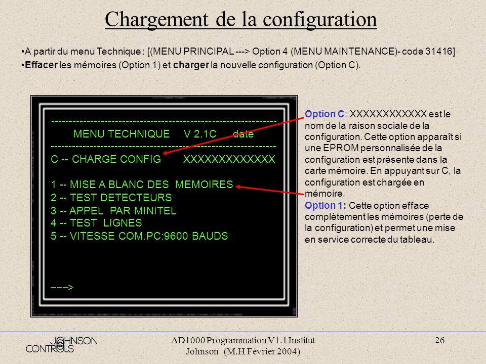 AD1000 Programmation V1.1 Institut Johnson (M.H Février 2004) 25 Programmation des eproms IC1et IC3 Cliquer sur le Bouton « Program ». A la fin de la