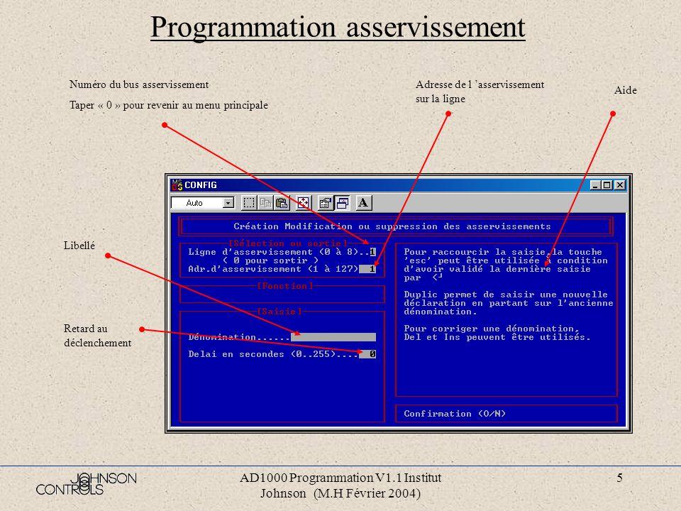 AD1000 Programmation V1.1 Institut Johnson (M.H Février 2004) 4 Programmation Affichage du nom du fichier, du nom du client et du type de centrale. Me