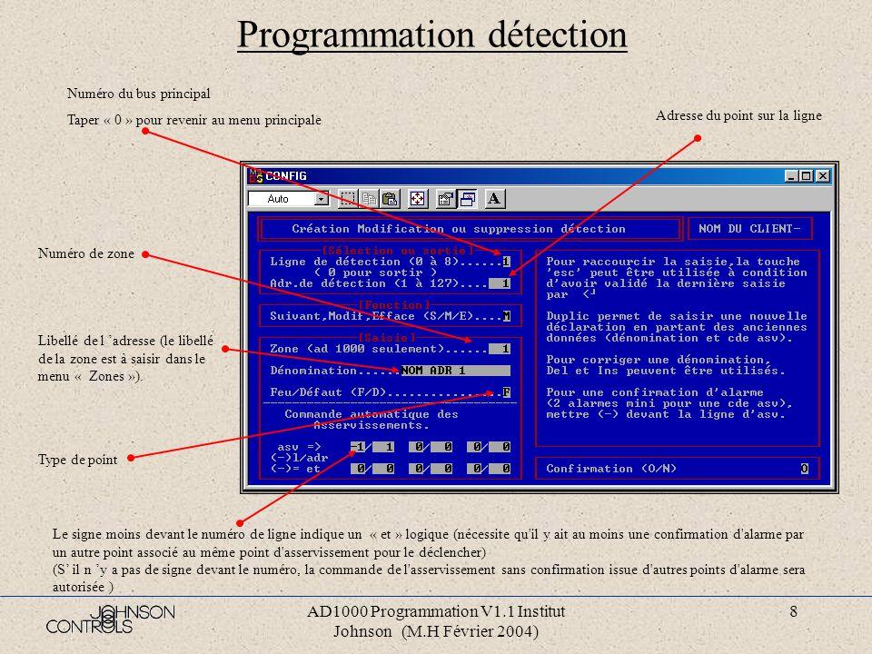 AD1000 Programmation V1.1 Institut Johnson (M.H Février 2004) 7 Programmation asservissement Saisir si le point existe: M =Modifier le point E=Effacer