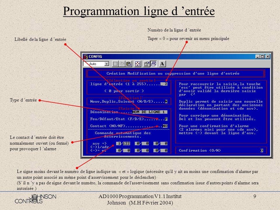 AD1000 Programmation V1.1 Institut Johnson (M.H Février 2004) 8 Programmation détection Numéro du bus principal Taper « 0 » pour revenir au menu princ