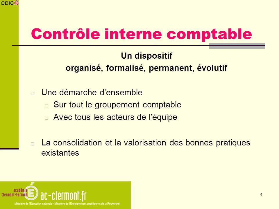 4 Contrôle interne comptable Un dispositif organisé, formalisé, permanent, évolutif Une démarche densemble Sur tout le groupement comptable Avec tous