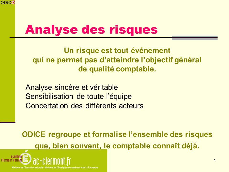 5 Analyse des risques Un risque est tout événement qui ne permet pas datteindre lobjectif général de qualité comptable. Analyse sincère et véritable S