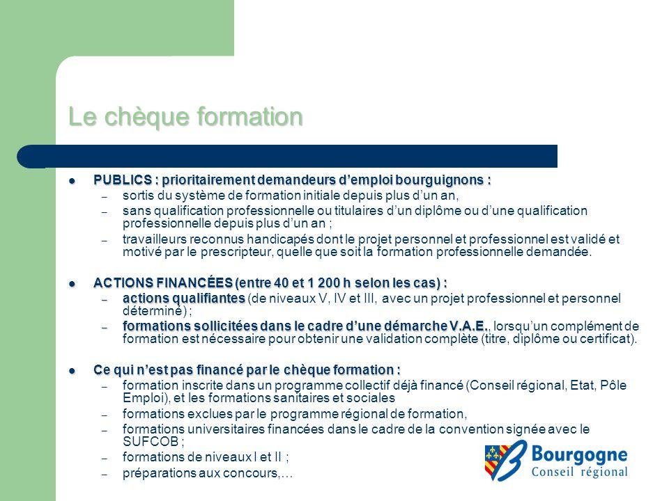 Le chèque formation PUBLICS : prioritairement demandeurs demploi bourguignons : PUBLICS : prioritairement demandeurs demploi bourguignons : – sortis d
