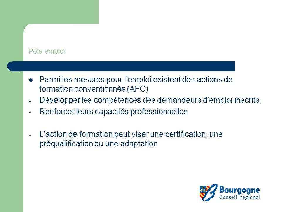 Pôle emploi Parmi les mesures pour lemploi existent des actions de formation conventionnés (AFC) - Développer les compétences des demandeurs demploi i