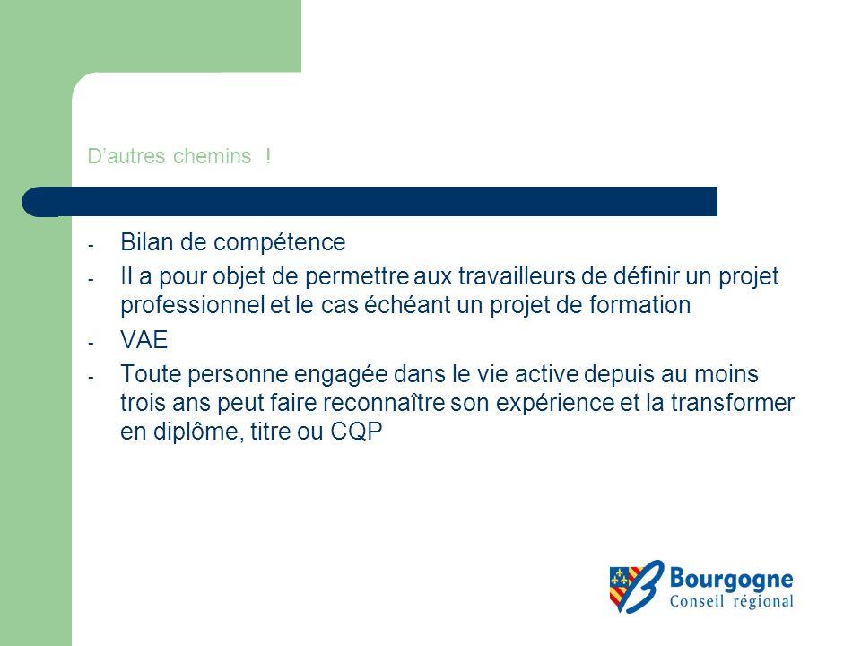 Dautres chemins ! - Bilan de compétence - Il a pour objet de permettre aux travailleurs de définir un projet professionnel et le cas échéant un projet