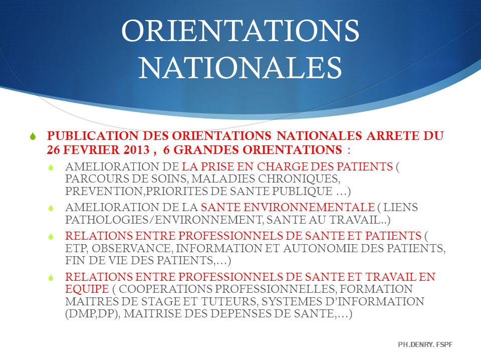 ORIENTATIONS NATIONALES PUBLICATION DES ORIENTATIONS NATIONALES ARRETE DU 26 FEVRIER 2013, 6 GRANDES ORIENTATIONS : AMELIORATION DE LA PRISE EN CHARGE