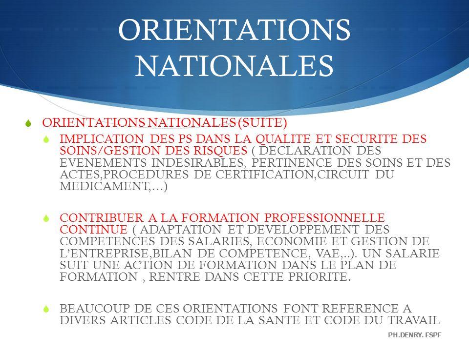 ORIENTATIONS NATIONALES ORIENTATIONS NATIONALES (SUITE) IMPLICATION DES PS DANS LA QUALITE ET SECURITE DES SOINS/GESTION DES RISQUES ( DECLARATION DES