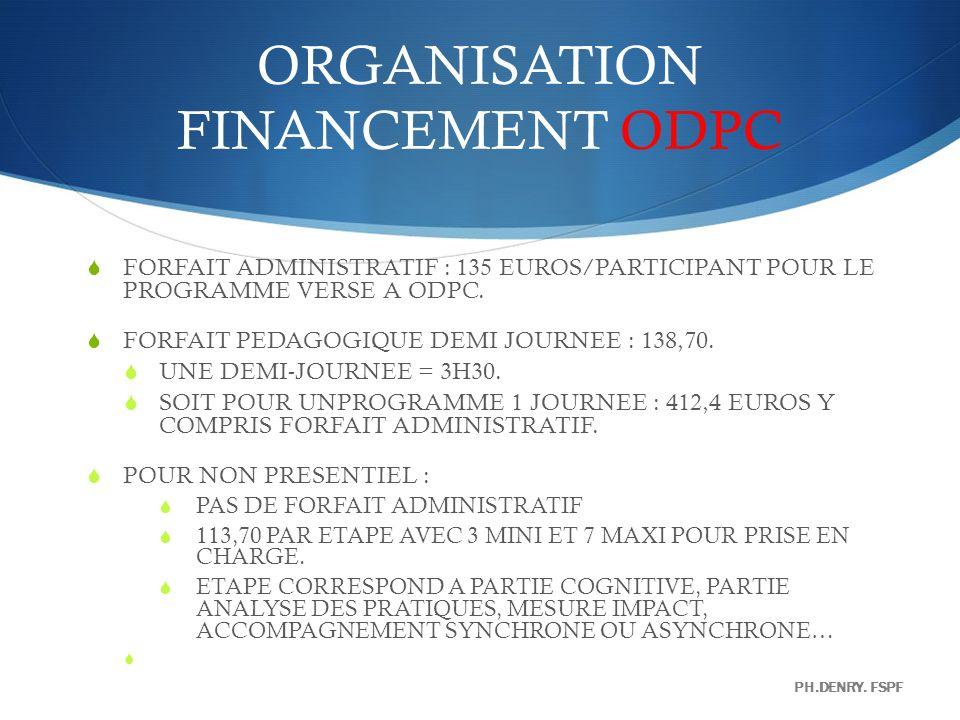 ORGANISATION FINANCEMENT ODPC FORFAIT ADMINISTRATIF : 135 EUROS/PARTICIPANT POUR LE PROGRAMME VERSE A ODPC. FORFAIT PEDAGOGIQUE DEMI JOURNEE : 138,70.