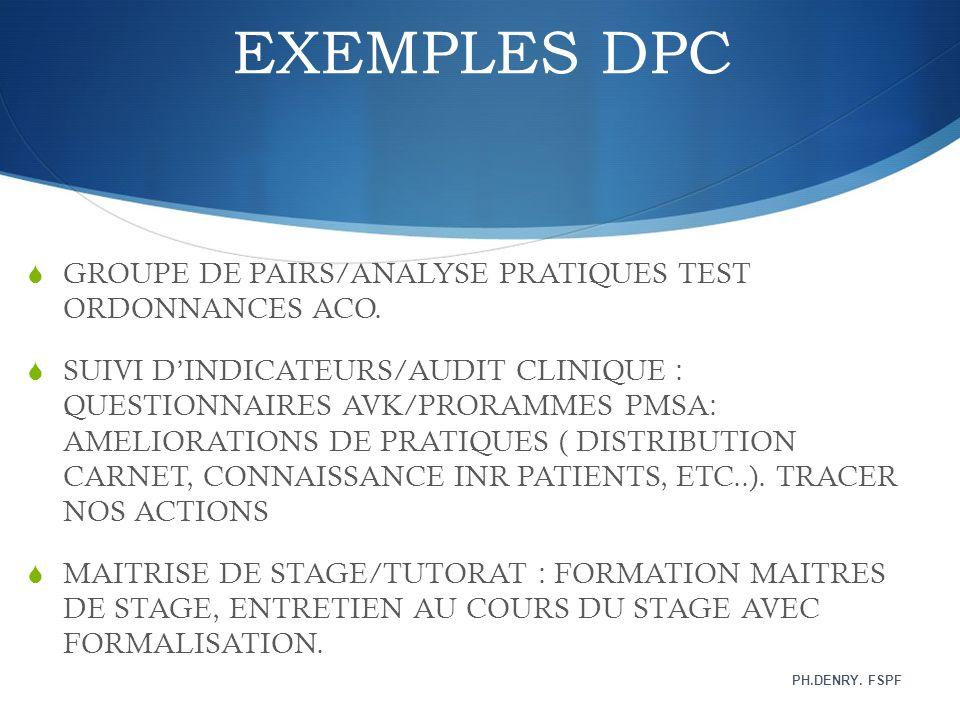 EXEMPLES DPC GROUPE DE PAIRS/ANALYSE PRATIQUES TEST ORDONNANCES ACO. SUIVI DINDICATEURS/AUDIT CLINIQUE : QUESTIONNAIRES AVK/PRORAMMES PMSA: AMELIORATI