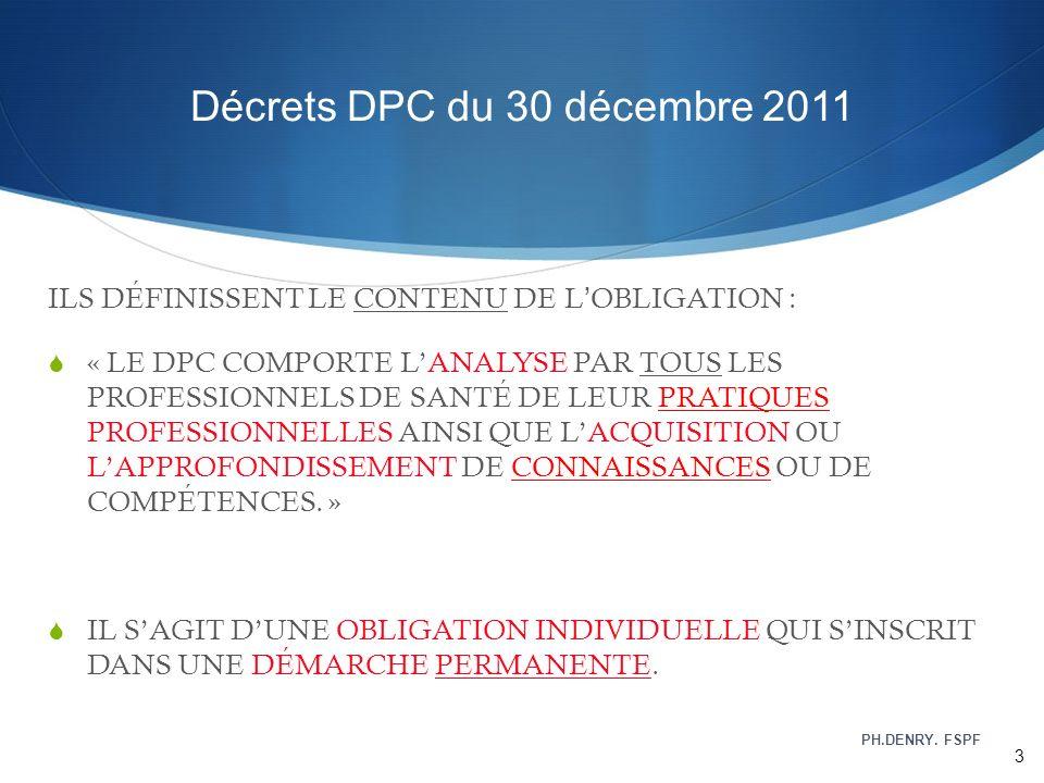 Décrets DPC du 30 décembre 2011 ILS DÉFINISSENT LE CONTENU DE LOBLIGATION : « LE DPC COMPORTE LANALYSE PAR TOUS LES PROFESSIONNELS DE SANTÉ DE LEUR PR