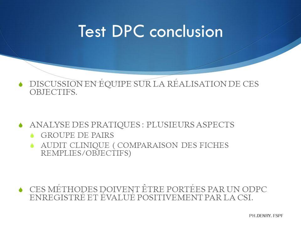 Test DPC conclusion DISCUSSION EN ÉQUIPE SUR LA RÉALISATION DE CES OBJECTIFS. ANALYSE DES PRATIQUES : PLUSIEURS ASPECTS GROUPE DE PAIRS AUDIT CLINIQUE