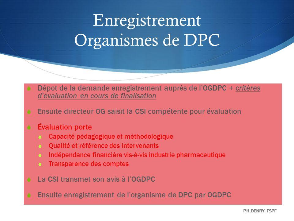 Organismes de DPC POUR ENREGISTREMENT : ODPC PROPOSE UN PROGRAMME TYPE QUIL DOIT POUVOIR DECLINER SUIVANT LES BESOINS DES PROFESSIONNELS ( METHODES EPP,METHODES COGNITIVES,…) OGDPC REND PUBLIQUE LA LISTE DES ORGANISMES DE DPC INFORME SUR LES PROGRAMMES DISPENSÉS.