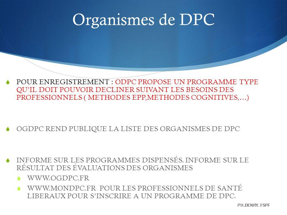 Organismes de DPC POUR ENREGISTREMENT : ODPC PROPOSE UN PROGRAMME TYPE QUIL DOIT POUVOIR DECLINER SUIVANT LES BESOINS DES PROFESSIONNELS ( METHODES EP