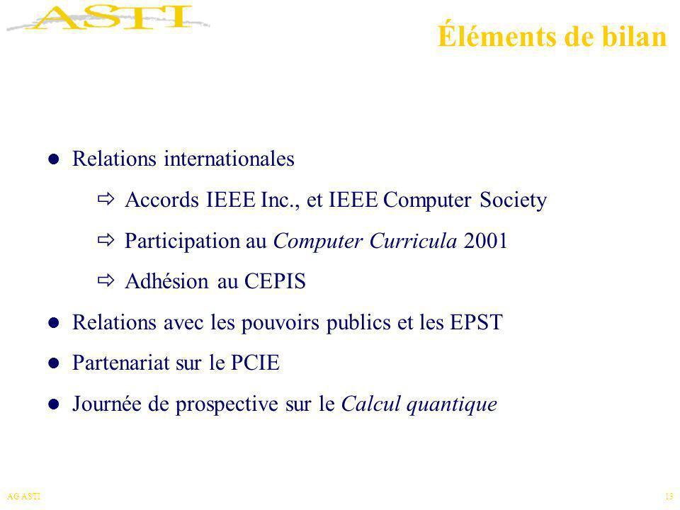 AG ASTI13 Éléments de bilan Relations internationales Accords IEEE Inc., et IEEE Computer Society Participation au Computer Curricula 2001 Adhésion au