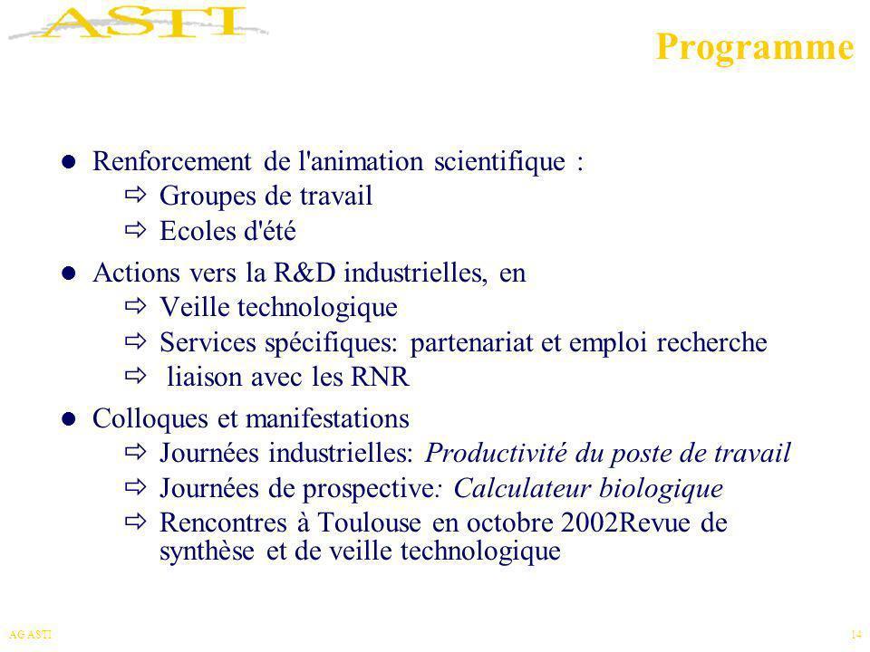 AG ASTI14 Programme Renforcement de l'animation scientifique : Groupes de travail Ecoles d'été Actions vers la R&D industrielles, en Veille technologi