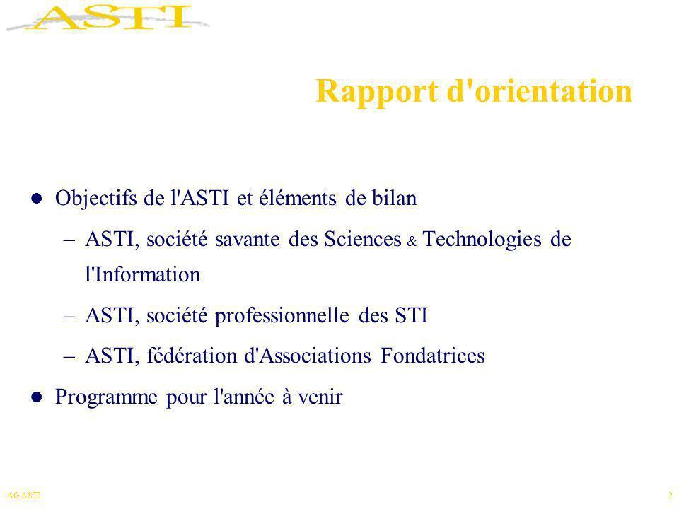 AG ASTI3 Objectifs de l ASTI Fédérer l ensemble de la communauté des STI, lui donner visibilité et cohérence Favoriser l essor du domaine des STI dans la recherche, le développement, l enseignement et la formation Contribuer à la prospective et au débat sur l évolution et l impact des STI, aux niveaux scientifiques, culturels, économiques et sociétaux Servir la communauté des STI, promouvoir les activités professionnelles de ses membres académiques et industriels Représenter la communauté auprès des pouvoirs publics et des organismes internationaux