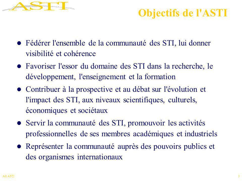 AG ASTI3 Objectifs de l'ASTI Fédérer l'ensemble de la communauté des STI, lui donner visibilité et cohérence Favoriser l'essor du domaine des STI dans
