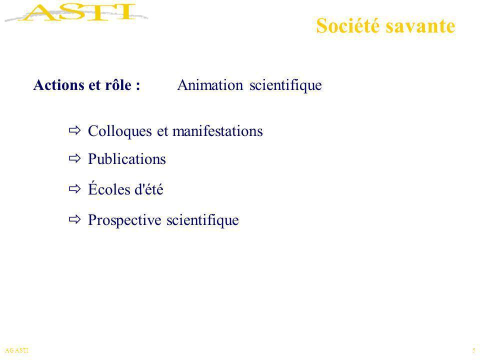 AG ASTI5 Société savante Actions et rôle : Animation scientifique Colloques et manifestations Publications Écoles d'été Prospective scientifique
