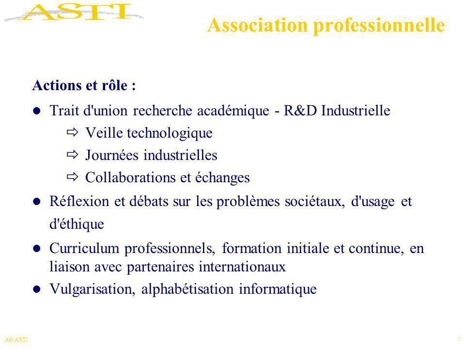 AG ASTI8 Fédération d Associations Fondatrices Rôle des Associations dans leur domaine Principes de subsidiarité Synergies et amplification des actions Implication des membres, individus et associations dans la définition des orientations de l ASTI et leur mise en œuvre Soutien aux activités des associations Partage de moyens et d infrastructures