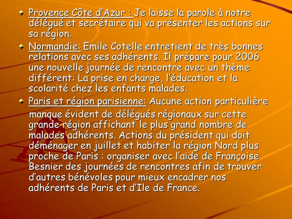Provence Côte dAzur : Je laisse la parole à notre délégué et secrétaire qui va présenter les actions sur sa région.