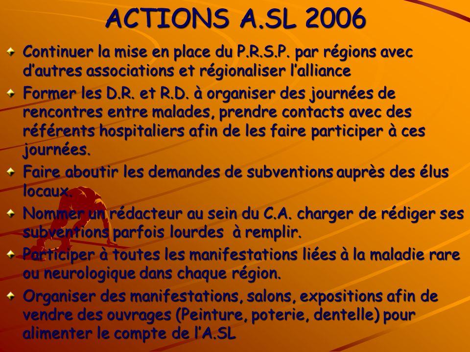 ACTIONS A.SL 2006 Continuer la mise en place du P.R.S.P.