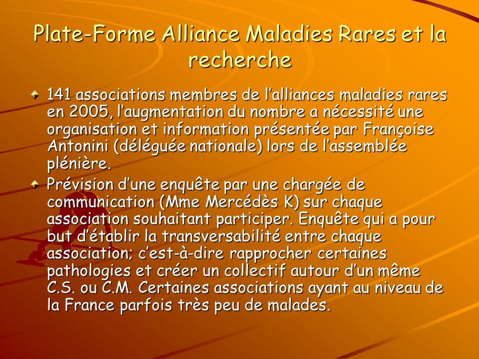 Plate-Forme Alliance Maladies Rares et la recherche 141 associations membres de lalliances maladies rares en 2005, laugmentation du nombre a nécessité une organisation et information présentée par Françoise Antonini (déléguée nationale) lors de lassemblée plénière.