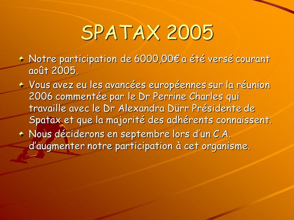 SPATAX 2005 Notre participation de 6000,00 a été versé courant août 2005.