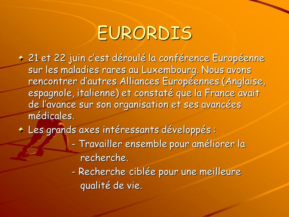 EURORDIS 21 et 22 juin cest déroulé la conférence Européenne sur les maladies rares au Luxembourg.