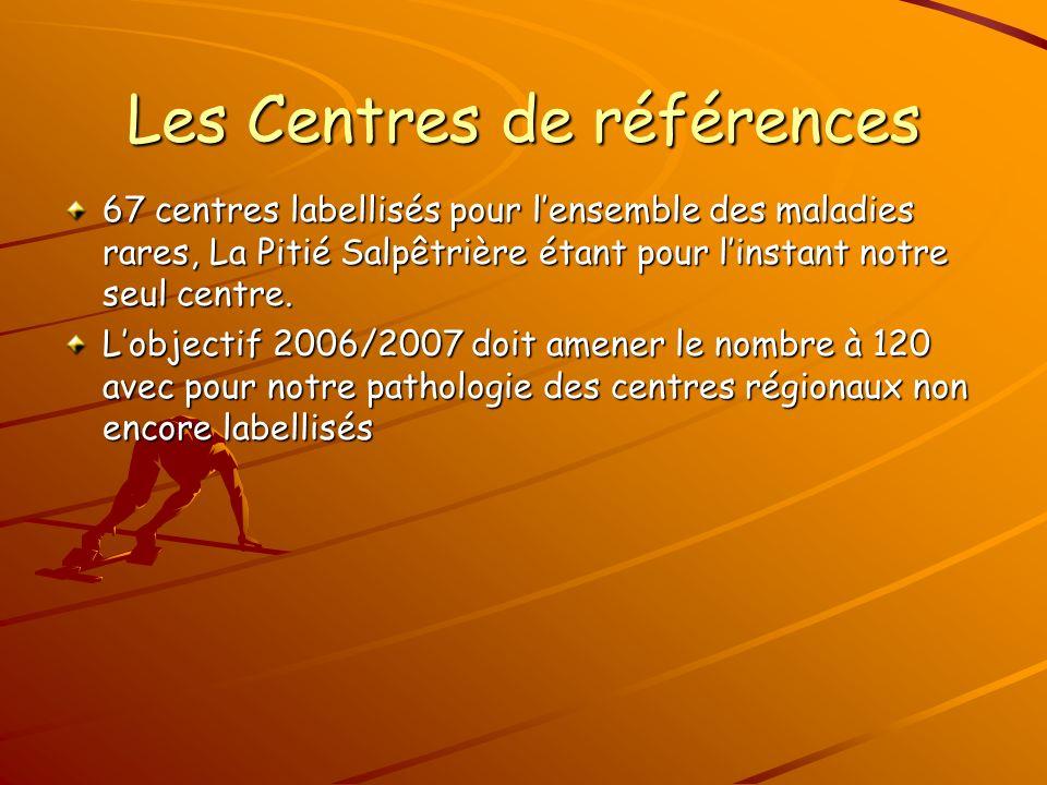 Les Centres de références 67 centres labellisés pour lensemble des maladies rares, La Pitié Salpêtrière étant pour linstant notre seul centre.
