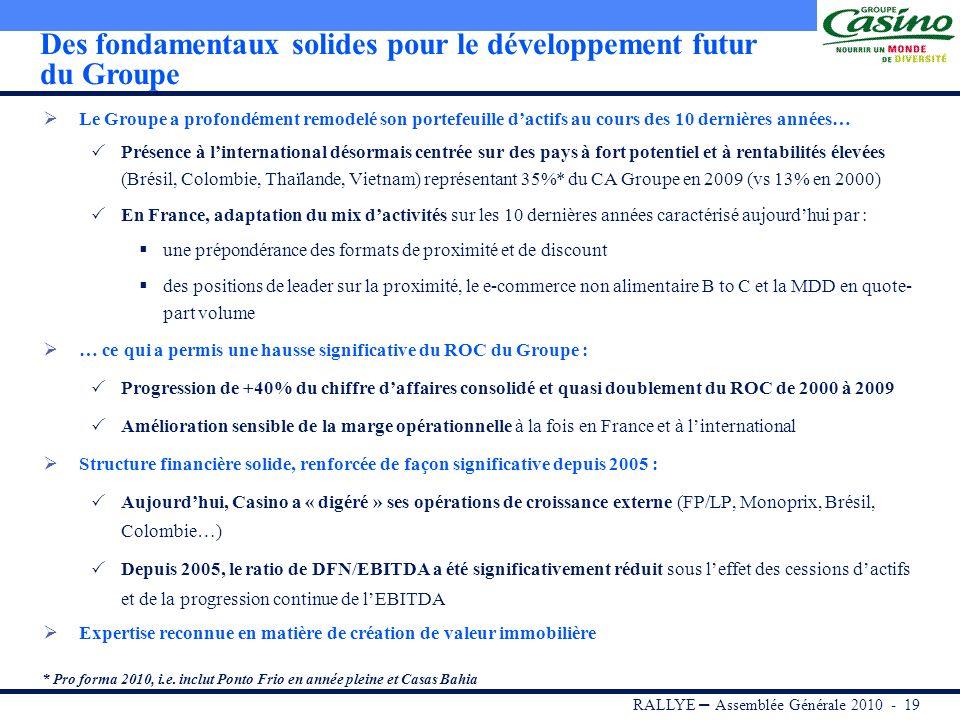 RALLYE – Assemblée Générale 2010 - 18 Amélioration de la flexibilité financière et renforcement de la liquidité Réduction significative de la dette fi